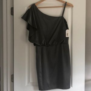Jessica Simpson gray one-shoulder party dress